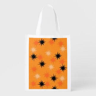 Atomic Orange Starbursts Reusable Grocery Bag