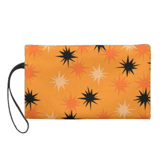 Atomic Orange Starbursts Wristlet