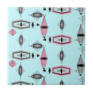 Atomic Pink & Grey Pattern Ceramic Tile