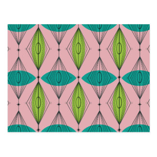 Atomic Pink Ogee and Starbursts Postcard
