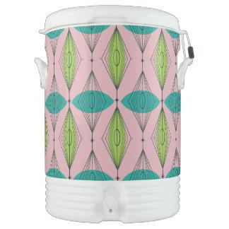 Atomic Pink Ogee & Starburst Igloo Beverage Cooler