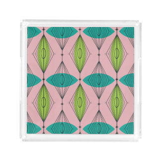 Atomic Pink Ogee & Starburst Small Square Tray