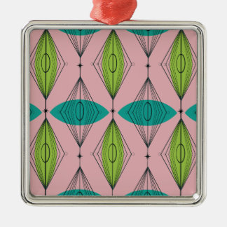 Atomic Pink Ogee & Starbursts Christmas Ornament