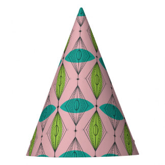 Atomic Pink Ogee & Starbursts Party Hats