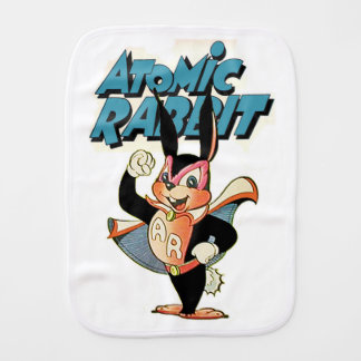 Atomic Rabbit funny cartoon art superhero Baby Burp Cloth