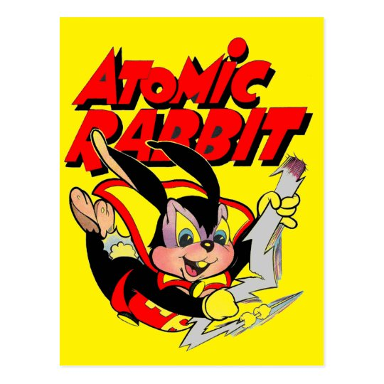 Atomic Rabbit funny furry animal superhero Postcard
