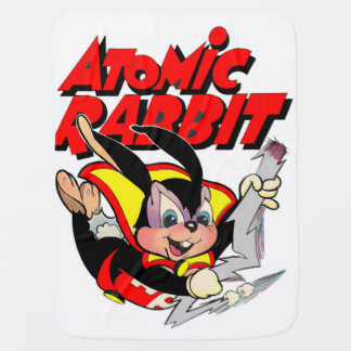 Atomic Rabbit funny furry animal superhero Pram blanket