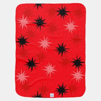 Atomic Red Starbursts Baby Blanket