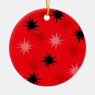 Atomic Red Starbursts Christmas Ornament