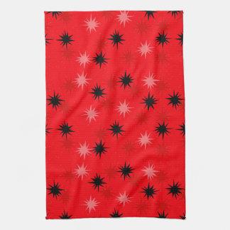 Atomic Red Starbursts Kitchen Towel