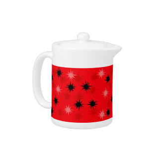 Atomic Red Starbursts Tea Pot