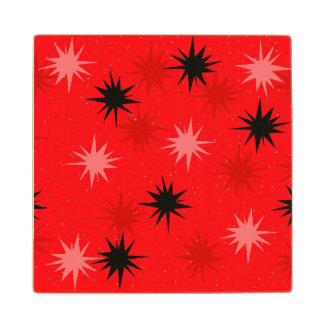 Atomic Red Starbursts Wooden Coaster