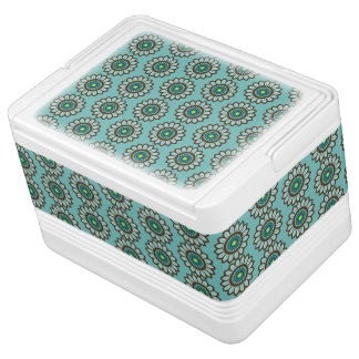 Atomic Retro Stylised Teal Flower Graphic Pattern Igloo Cool Box