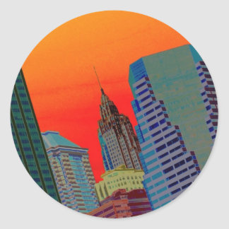 Atomic Skyline Classic Round Sticker