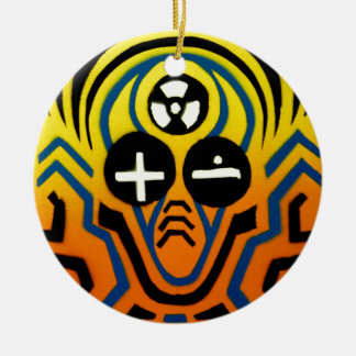 Atomic sound wave man round ceramic decoration