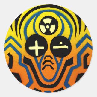 Atomic sound wave man round sticker