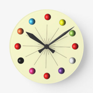 Atomic Sphere Star Burst Retro Style Decor Round Clock