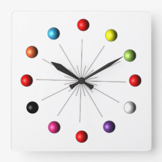 Atomic Sphere Star Burst Retro Style Decor Square Wall Clock
