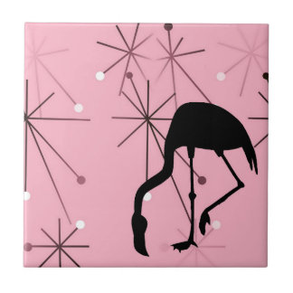 Atomic Starburst MidCentury Modern Flamingo Pink Small Square Tile