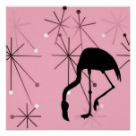 Atomic Starburst Retro Kitsch Flamingo Poster