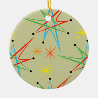 Atomic Starburst Retro Multicolored Pattern Christmas Ornament
