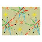 Atomic Starburst Retro Multicolored Pattern Postcard