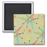 Atomic Starburst Retro Multicolored Pattern Square Magnet