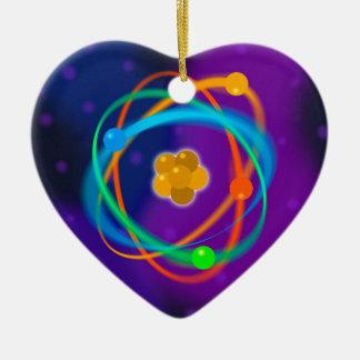 Atomic Structure Spots Ceramic Heart Decoration