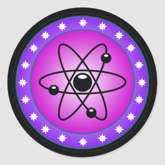 Atomic Symbol on a Pink background Round Stickers