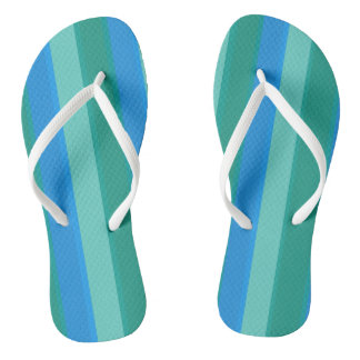 Atomic Teal and Turquoise Stripes Flip Flops