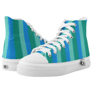Atomic Teal and Turquoise Stripes High Top Shoes Printed Shoes