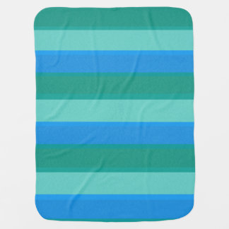 Atomic Teal & Turquoise Stripes Baby Blanket