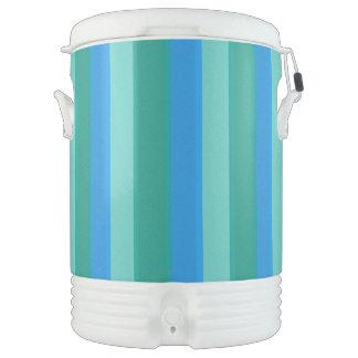 Atomic Teal & Turquoise Stripes Beverage Cooler