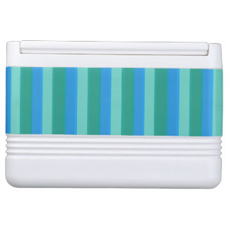 Atomic Teal & Turquoise Stripes Can Cooler Igloo Cooler