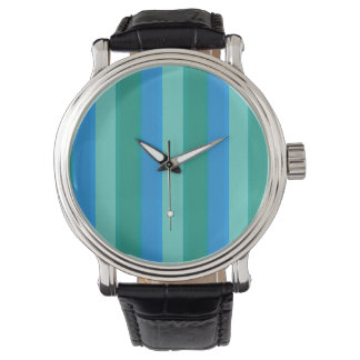 Atomic Teal & Turquoise Stripes Leather Watch