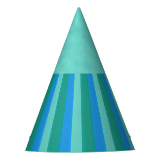 Atomic Teal & Turquoise Stripes Party Hat