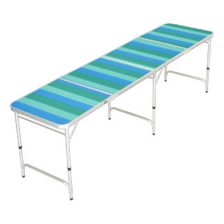Atomic Teal & Turquoise Stripes Pong Table