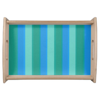 Atomic Teal & Turquoise Stripes Serving Tray