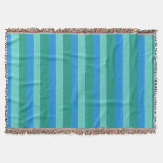 Atomic Teal & Turquoise Stripes Throw Blanket