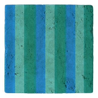 Atomic Teal & Turquoise Stripes Trivet