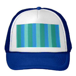 Atomic Teal & Turquoise Stripes Trucker Hat