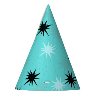Atomic Turquoise Starbursts Party Hats