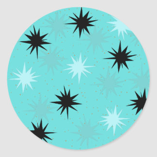 Atomic Turquoise Starbursts Round Stickers