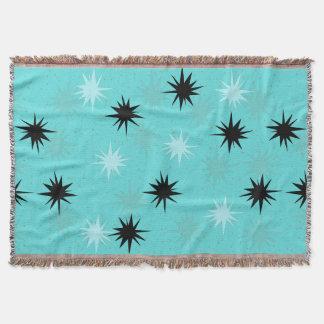 Atomic Turquoise Starbursts Throw Blanket