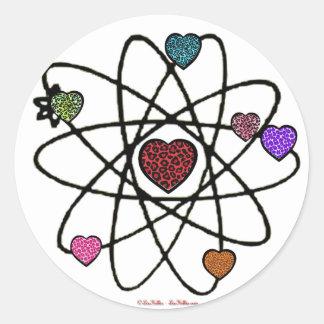 Atomic Valentine Leopard Print Hearts Round Sticker