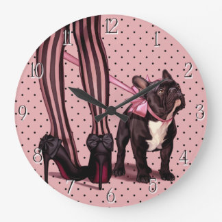 Attached to my French Bulldog Large Clock