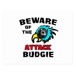Attack Budgie Postcard