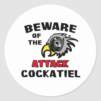 Attack Cockatiel Round Sticker
