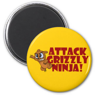Attack Grizzly Ninja 6 Cm Round Magnet