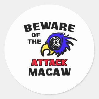Attack Macaw Round Sticker